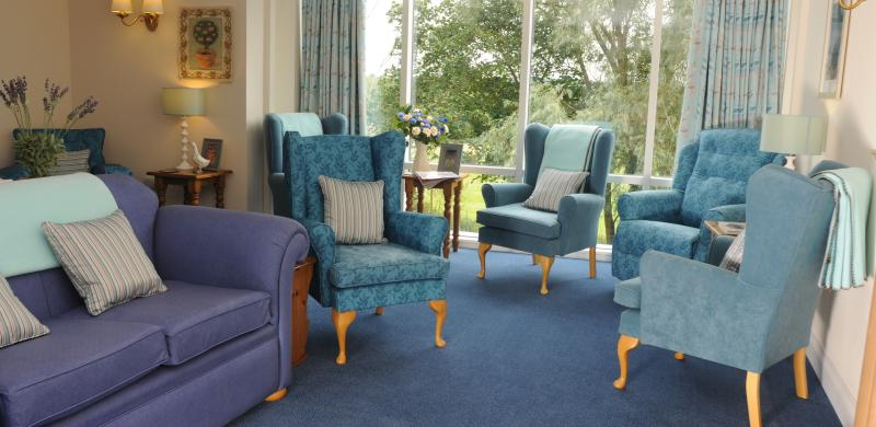 Multiple blue armchairs and a purple sofa
